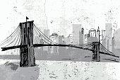 Hand drawn Brooklyn Bridge - vector