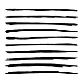 Hand drawn brush strokes. Black Straight vector lines. Textured Marker paint