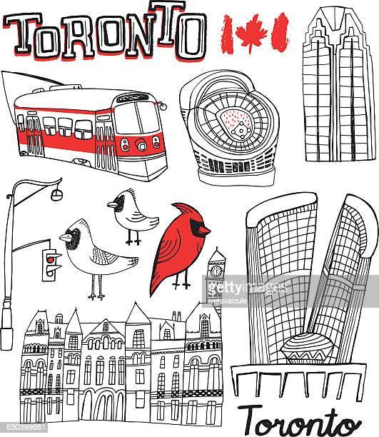 Hand drawn Gebäude und Sehenswürdigkeiten von Toronto, Kanada