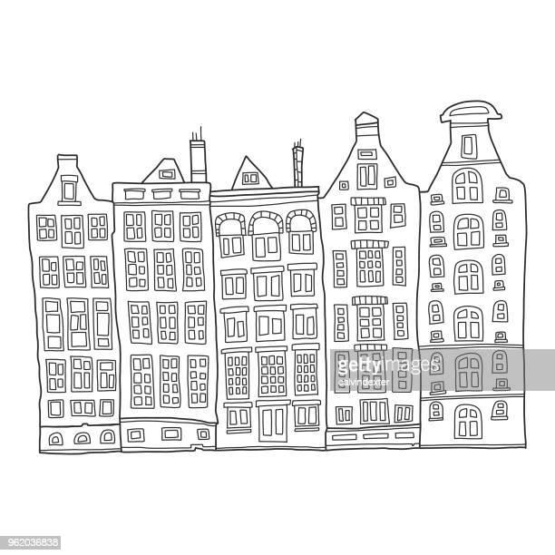 hand drawn buildings - amsterdam stock illustrations, clip art, cartoons, & icons