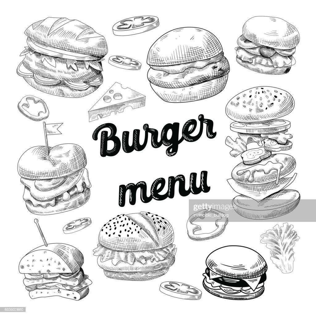 Hand Drawn Burgers. Fast Food Menu Cheeseburger