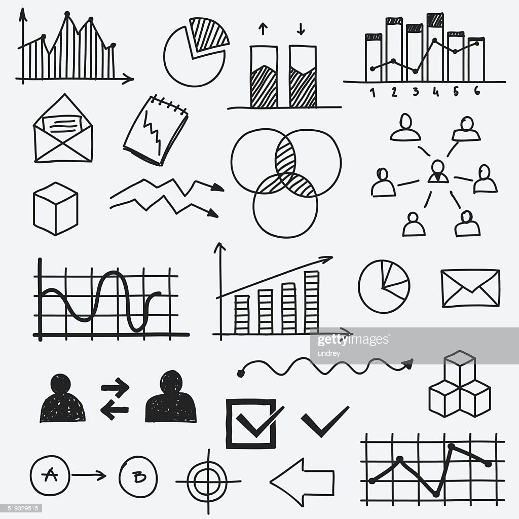 Hand drawn business doodle sketches elements Concept infographic finance analytics
