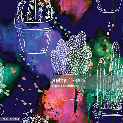 Hand Drawn Cactus Plants Seamless Pattern