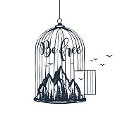 Hand drawn cage with mountains vector illustration.
