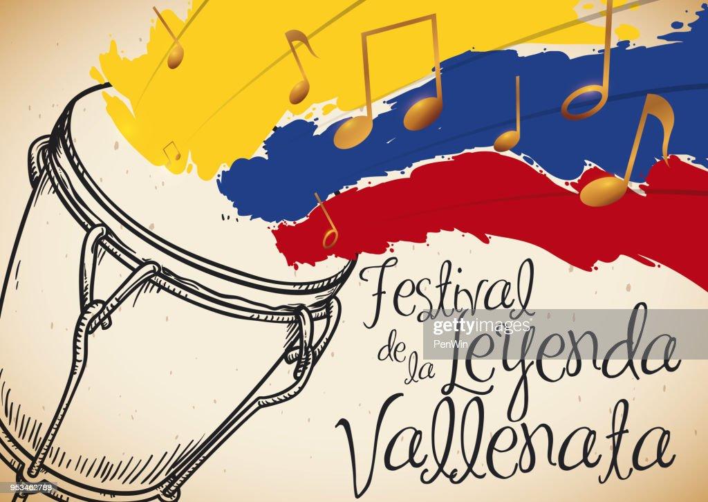 Hand Drawn Caja and Tricolor Brushstrokes for Vallenato Legend Festival