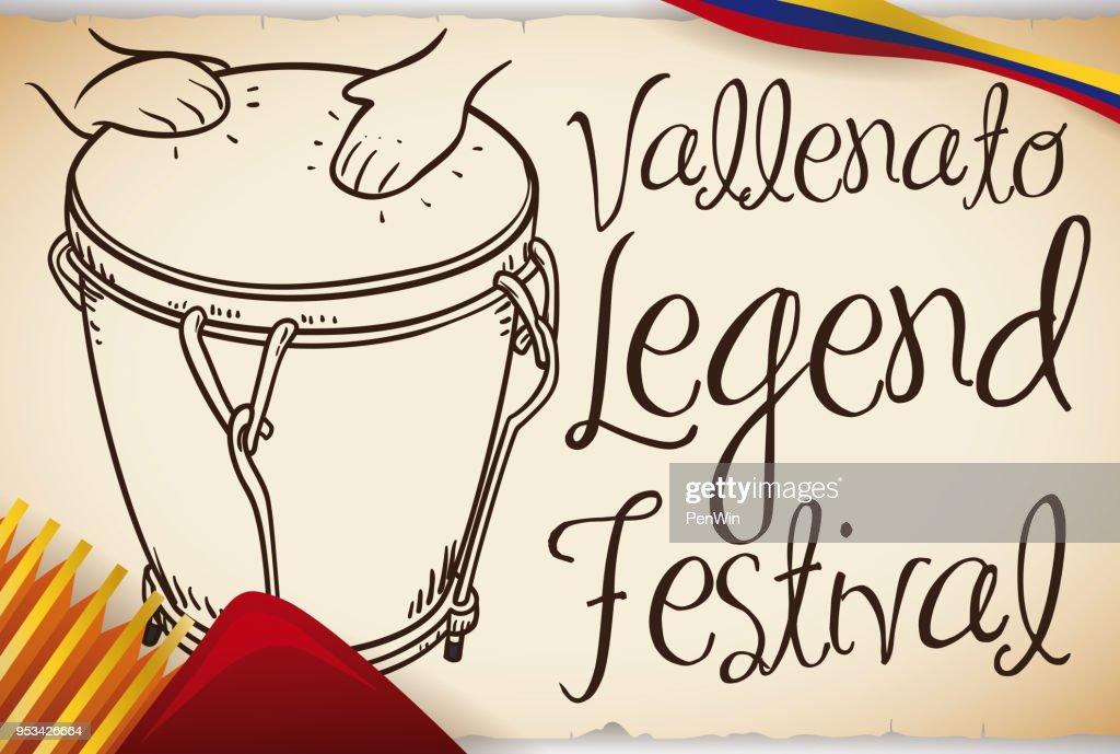 Hand Drawn Caja Vallenata with Accordion for Vallenato Legend Festival