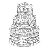 Hand drawn cake for coloring book
