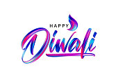 Hand drawn calligraphic brush stroke colorful paint lettering of Happy Diwali