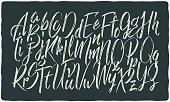 Hand drawn calligraphic font made with dry brush textured effect