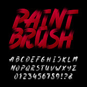 Hand drawn calligraphy brush stroke alphabet. Letters and numbers.