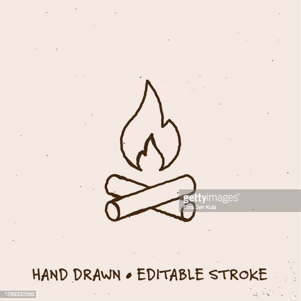 hand drawn camp fire line icon with editable stroke - smoke physical structure stock illustrations