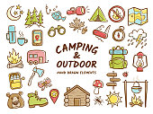 Hand drawn camping and outdoor recreation elements