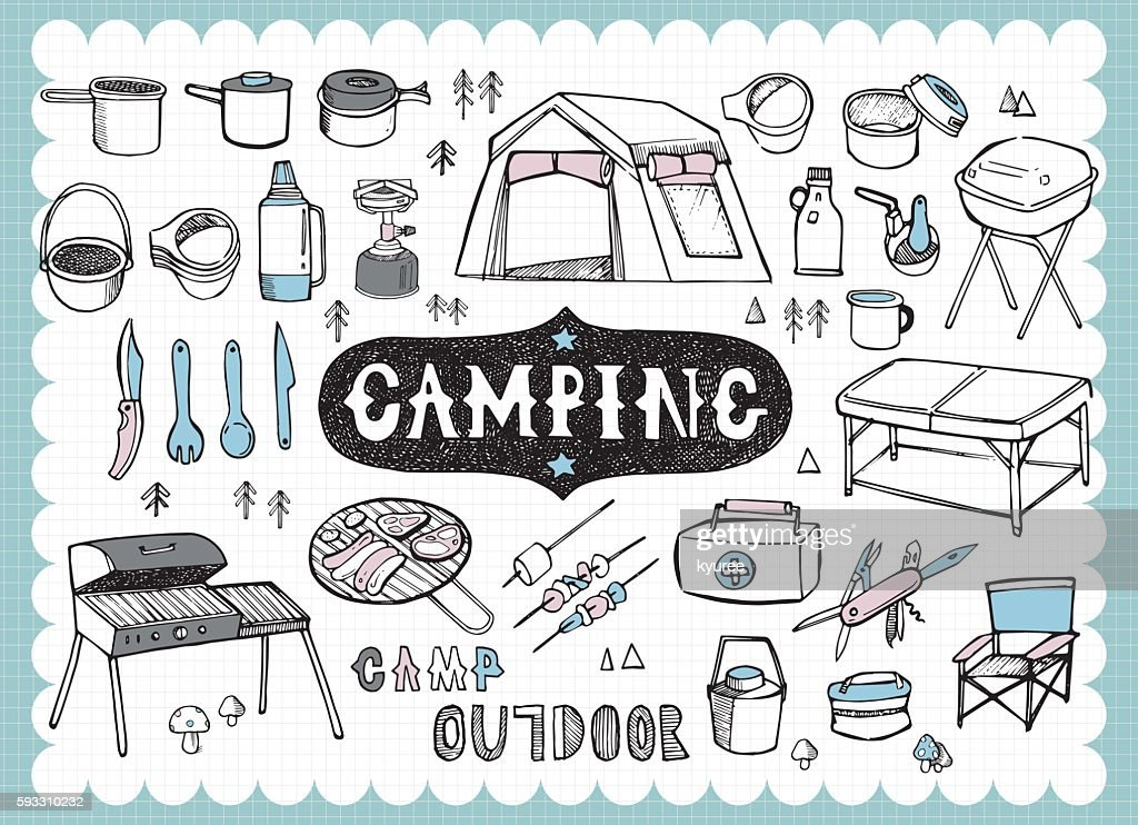 Hand drawn camping equipments A