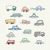 Hand drawn Car Doodles. Vector Illustration
