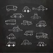 Hand Drawn cars on a chalkboard