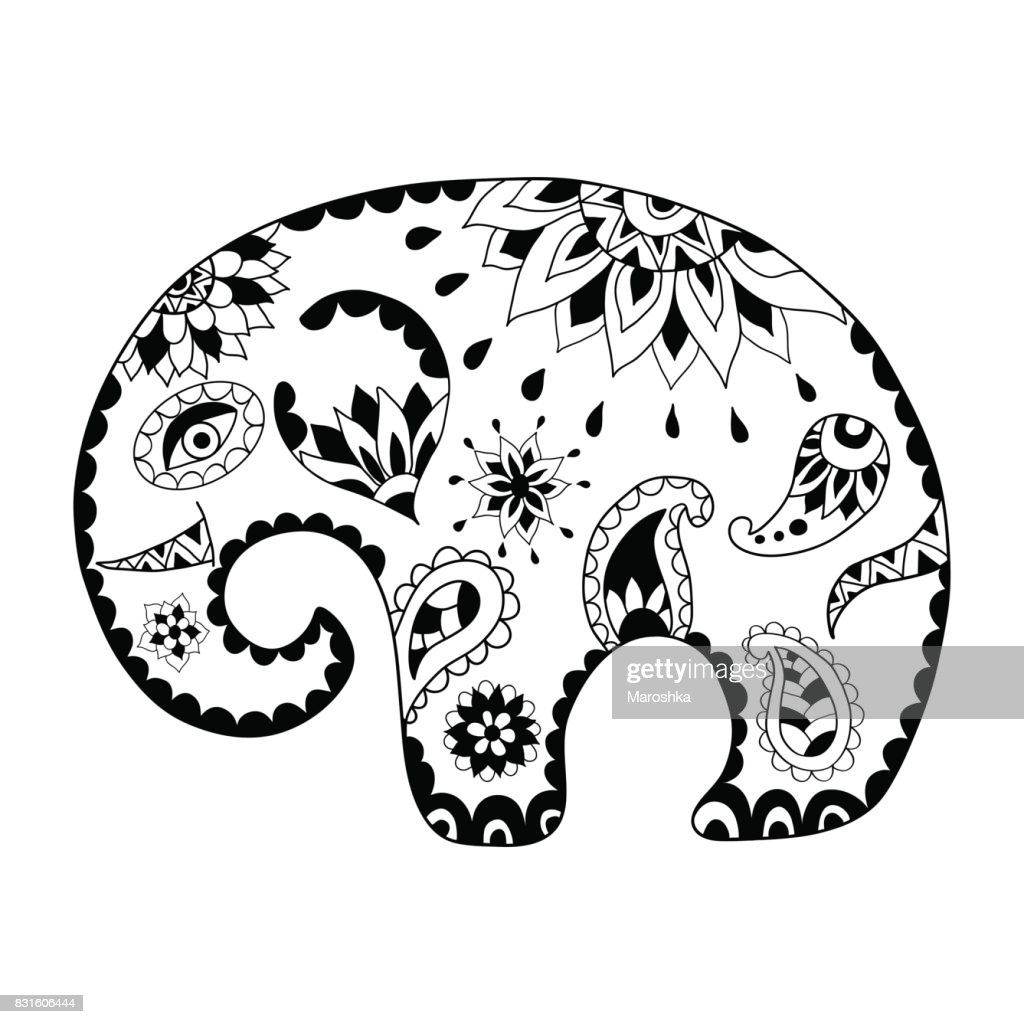 Hand drawn cartoon elephant for adult anti stress colouring page. Pattern for coloring book.