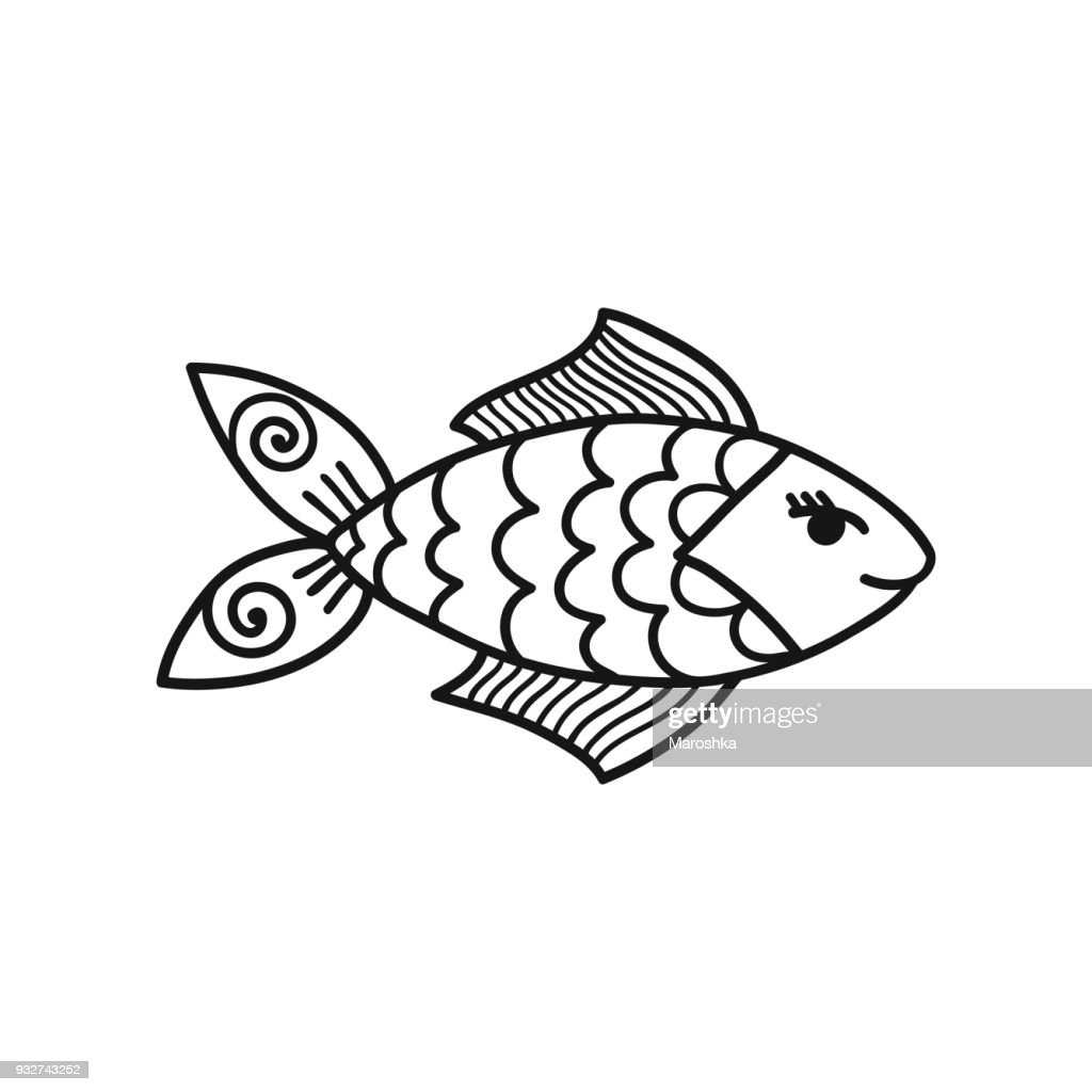 Hand drawn cartoon funny fish.