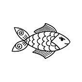 Hand drawn cartoon funny fish.