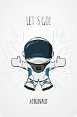 Hand drawn cartoon vector illustration astronaut in spacesuit who drop