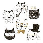 Hand drawn cats heads collection.