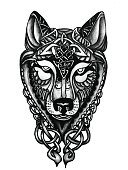 Hand drawn Celtic Wolf head for tattoo