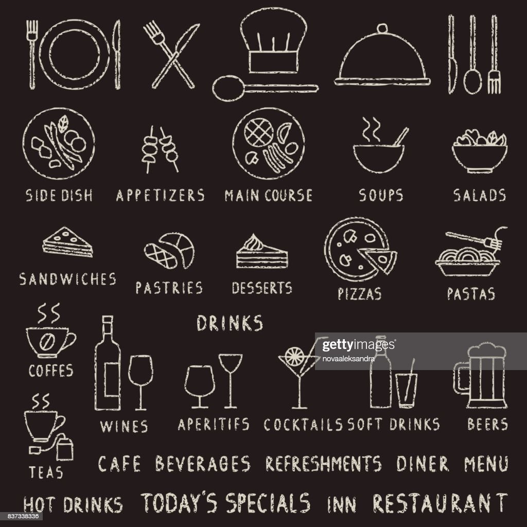 Hand drawn chalk stroke restaurant outline vector icons on blackboard