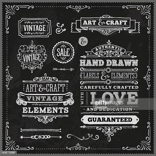 Hand Drawn Chalk Vintage Label Set