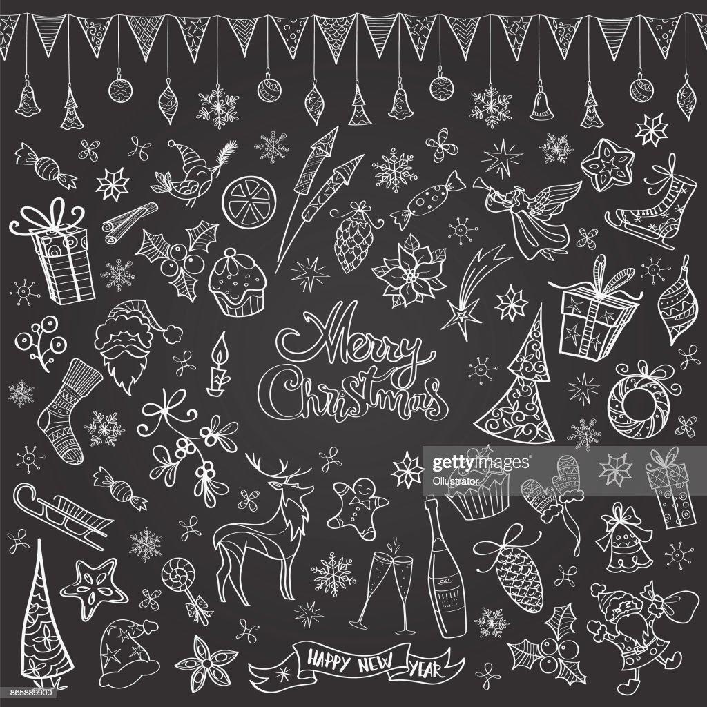 Hand drawn chalkboard christmas doodles : stock illustration