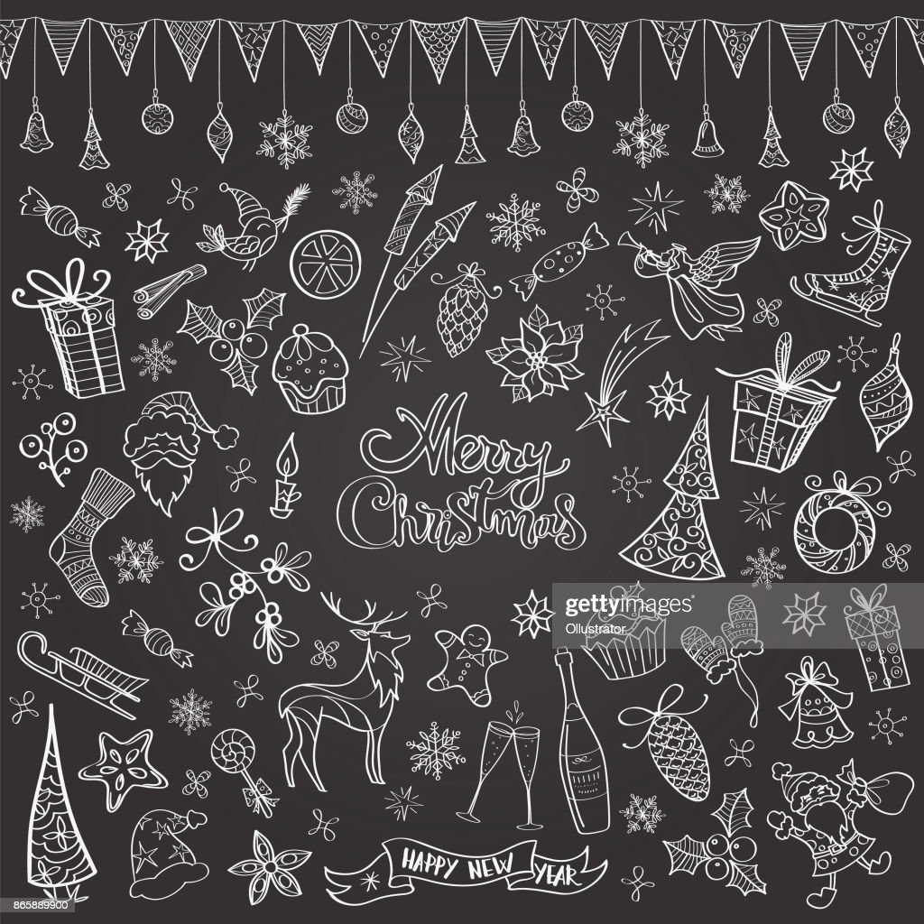 Hand drawn chalkboard christmas doodles