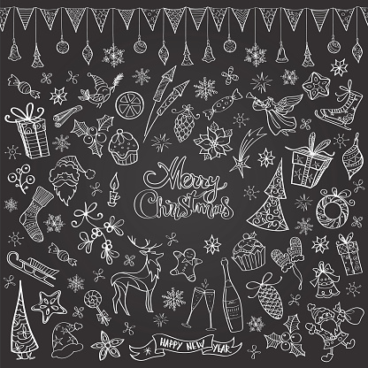 Hand drawn chalkboard christmas doodles - gettyimageskorea