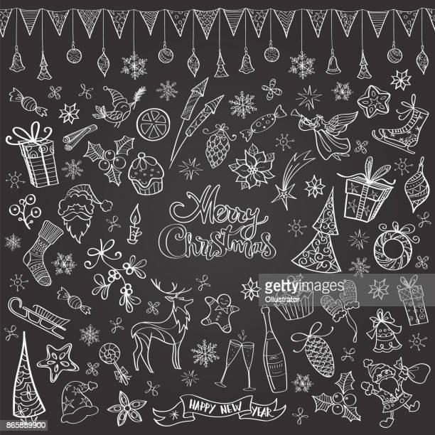 Hand gezeichnet Tafel Weihnachts doodles