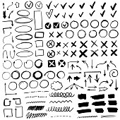 Hand drawn check signs. Doodle v mark for list items, checkbox chalk icons and sketch checkmarks. Vector checklist marks icon set