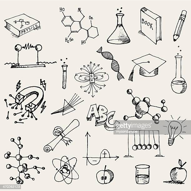 hand drawn chemistry and physics doodles - chemical formula stock illustrations