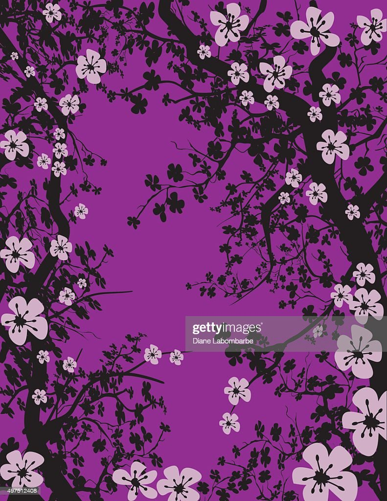 Hand Drawn Cherry Blossoms Tree Background