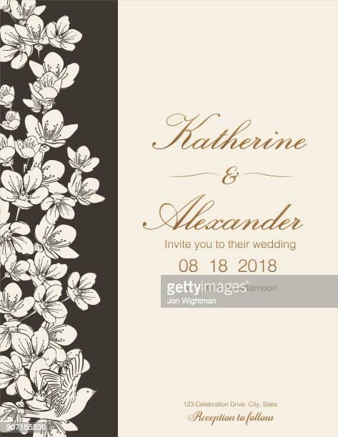 Flores de cerezo de dibujado a mano plantillas de invitación de boda