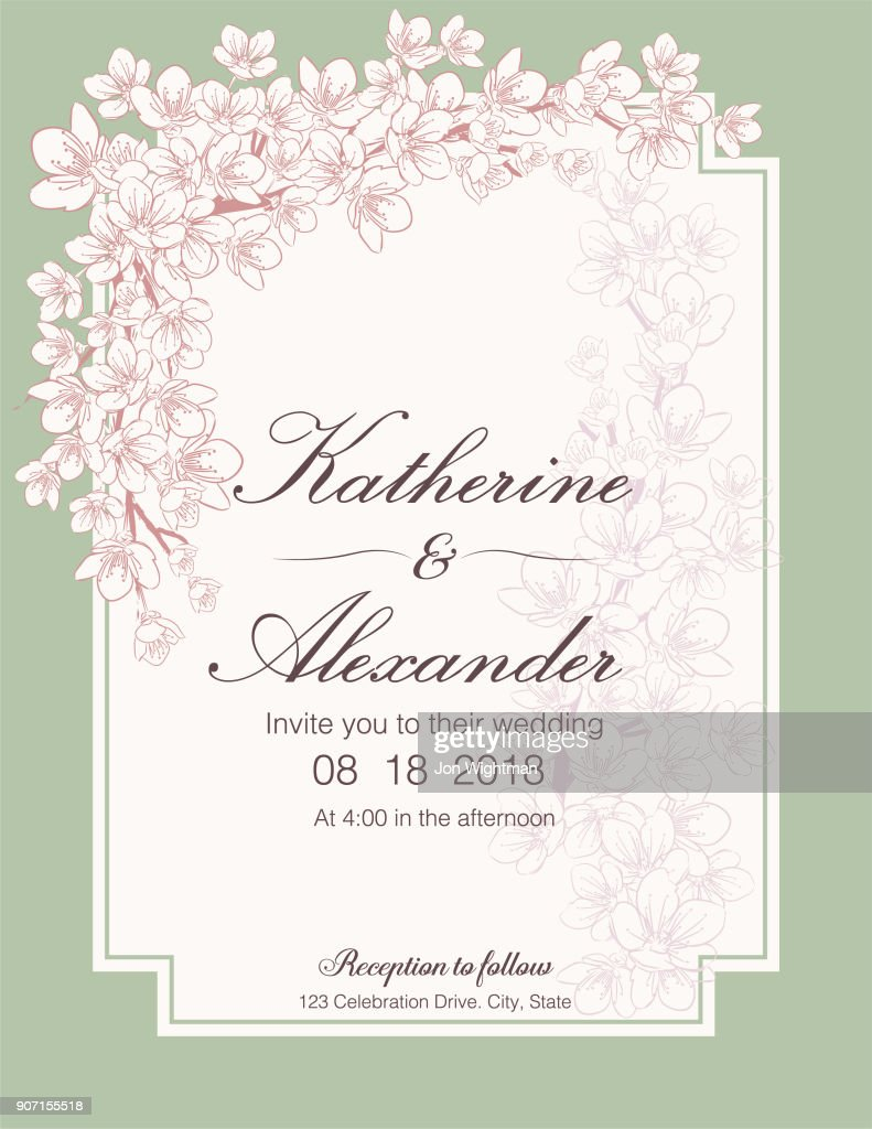 Hand Drawn Cherry Blossoms Wedding Invitation Template Vector Art ...