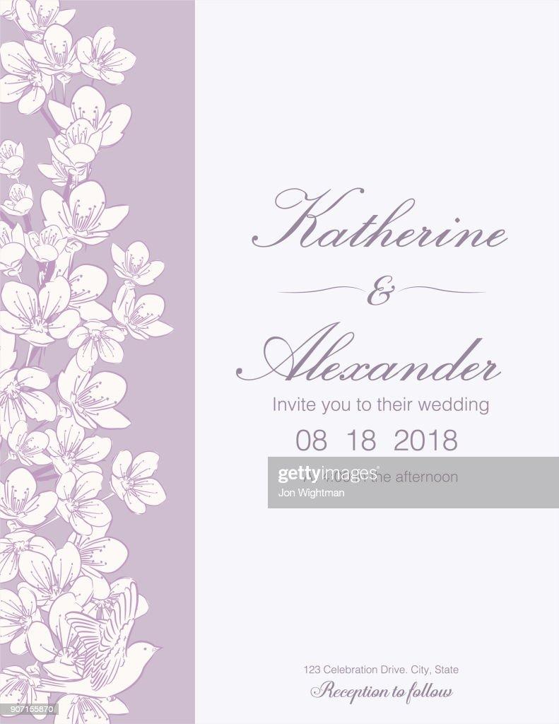 Hand Drawn Cherry Blossoms Wedding Invitation Template Vector Art ...