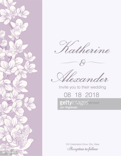 hand drawn cherry blossoms wedding invitation template - purple background stock illustrations, clip art, cartoons, & icons