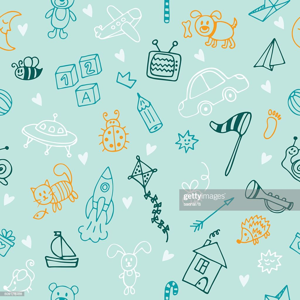Hand drawn children drawings color seamless pattern. Doodle