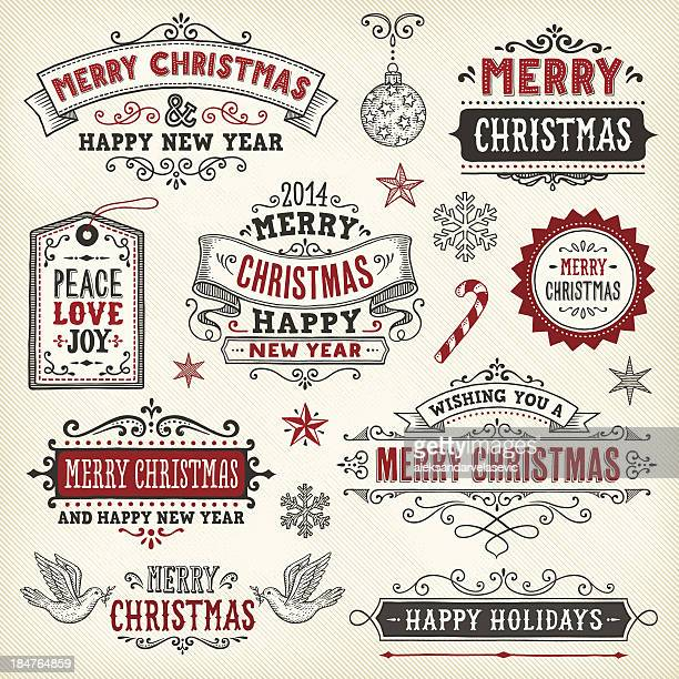 hand drawn christmas banners and labels - candy cane stock illustrations