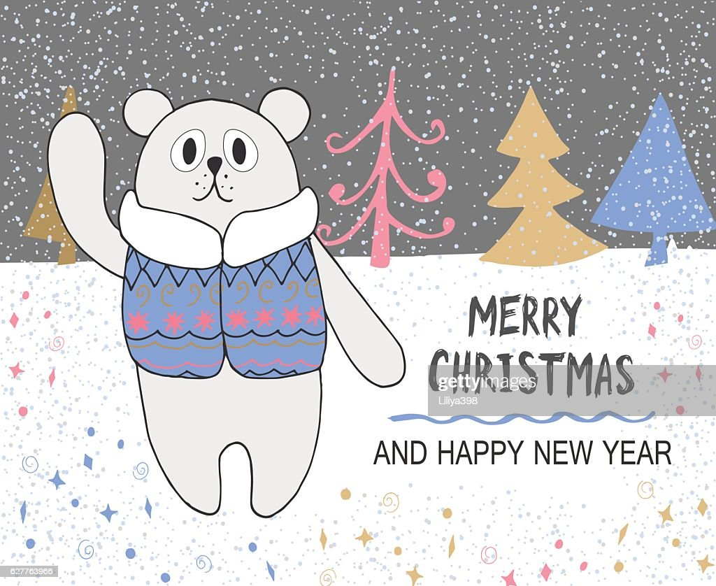 Hand Drawn Christmas Card With Cute Bear In Jacket And Vector Art ...