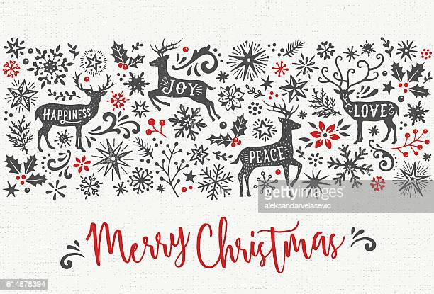 hand drawn christmas card with reindeers - reindeer stock illustrations