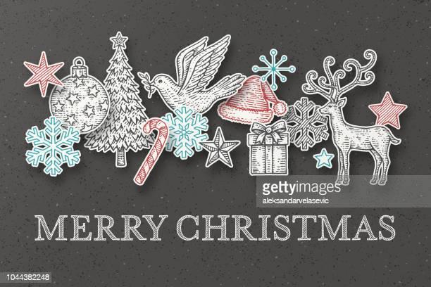 hand drawn christmas cards - christmas decoration stock illustrations