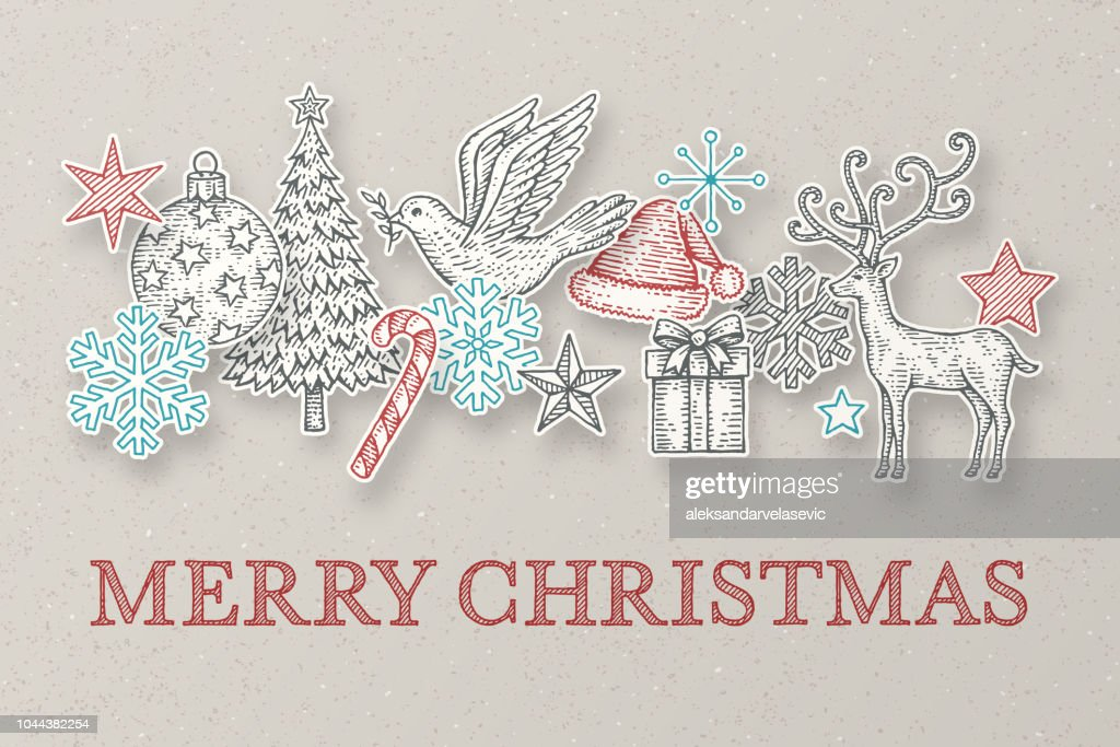 Hand Drawn Christmas Cards Vector Art | Getty Images