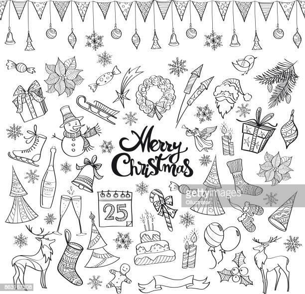 ilustraciones, imágenes clip art, dibujos animados e iconos de stock de garabatos dibujados a mano navidad - flor de pascua
