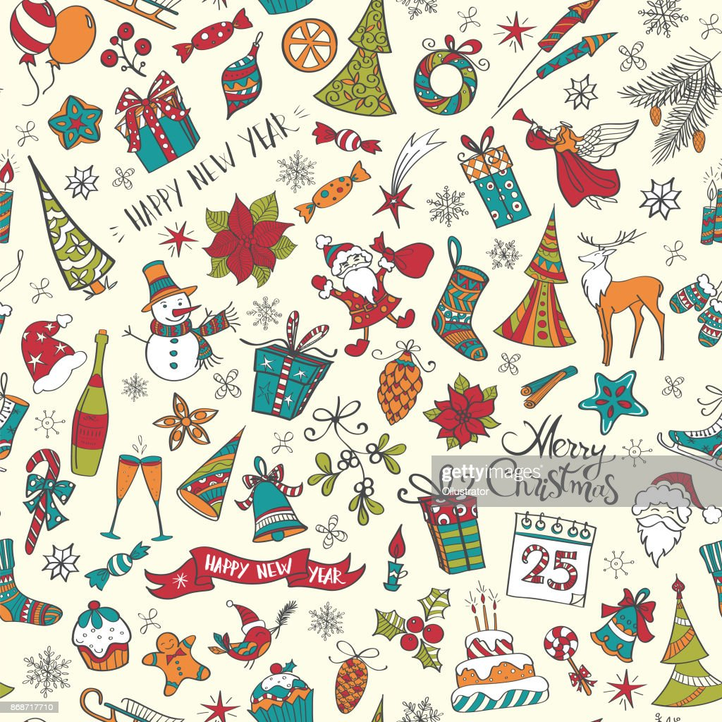 Hand drawn christmas elements seamless pattern colored