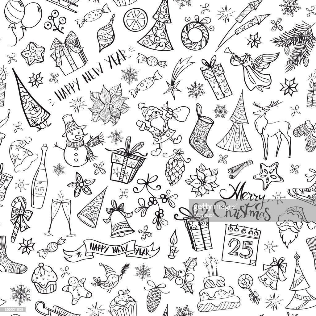 Handgezeichnete Weihnachten Elemente nahtlose Muster : Stock-Illustration