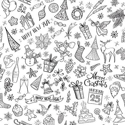 Hand drawn christmas elements seamless pattern - gettyimageskorea