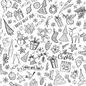 Hand drawn christmas elements seamless pattern