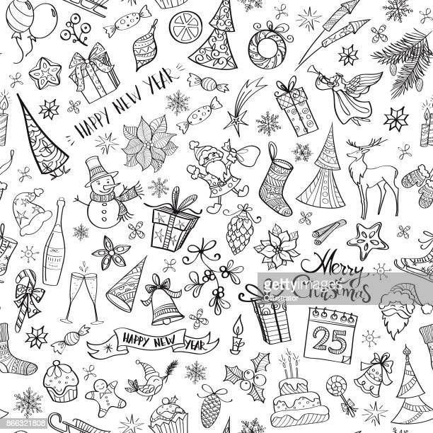hand drawn christmas elements seamless pattern - illustration technique stock illustrations